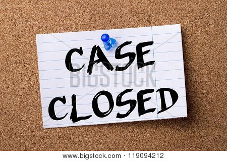 Case Closed - Teared Note Paper Pinned On Bulletin Board