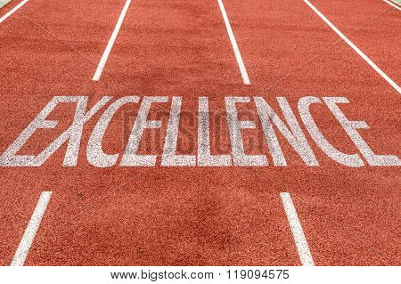 Excellence written on running track