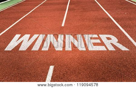 Winner written on running track