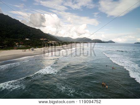Aerial View of Juquehy Beach, Sao Paulo, Brazil