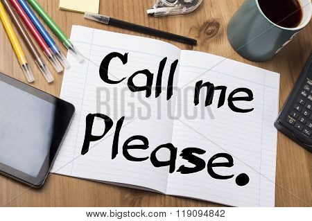 Call Me Please. - Note Pad With Text