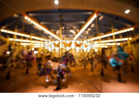 Blurred Abstract Of Carousel Or Merry-go-round