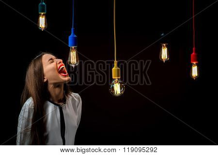 Illuminated retro lamps with woman yelling