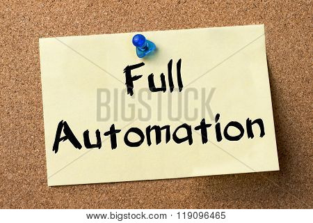 Full Automation - Adhesive Label Pinned On Bulletin Board