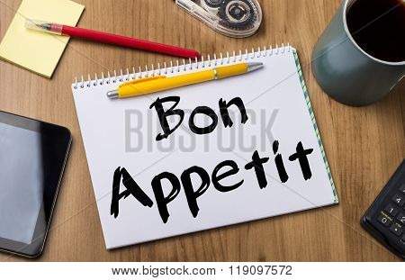 Bon Appetit - Note Pad With Text