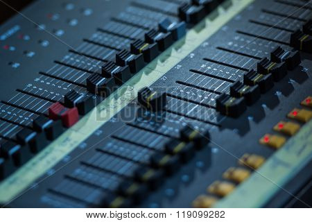 Audio Sound Mixer Closeup