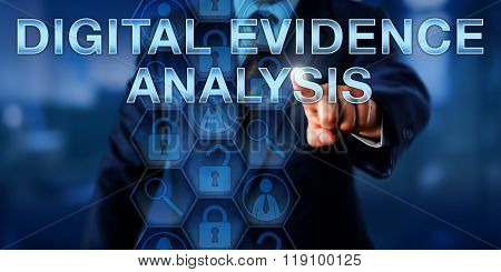 Investigator Touching Digital Evidence Analysis.