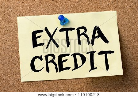Extra Credit - Adhesive Label Pinned On Bulletin Board