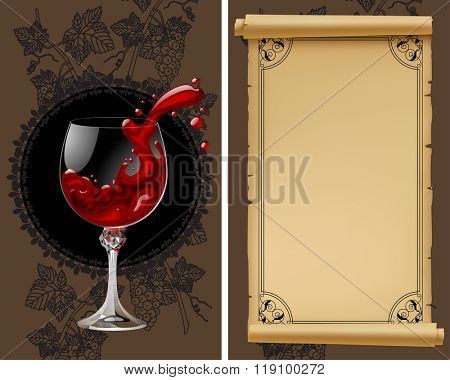 Wine list with old parchment, grapes, bottle and wineglass with splashed wine. Vintage menu template