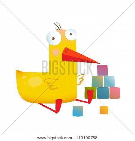 Kids Duck Playing Cubes Funny Toy