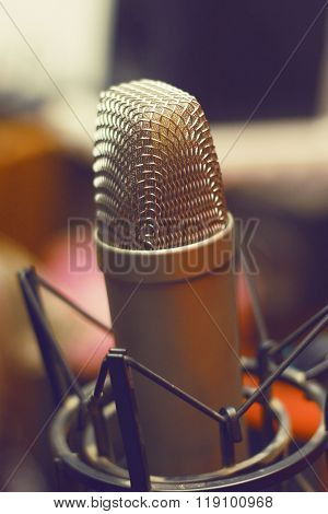 Condencer Mic In Studio On Stand