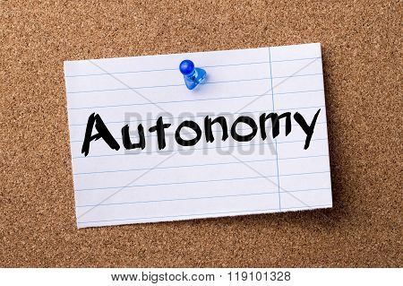 Autonomy - Teared Note Paper Pinned On Bulletin Board