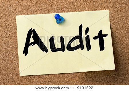 Audit - Adhesive Label Pinned On Bulletin Board