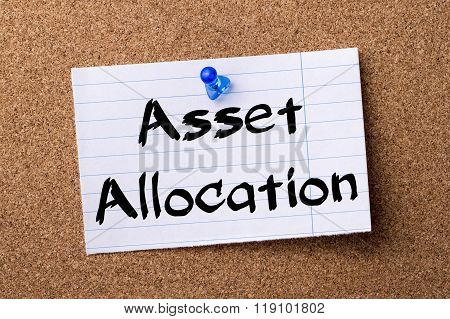 Asset Allocation - Teared Note Paper Pinned On Bulletin Board