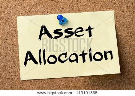Asset Allocation - Adhesive Label Pinned On Bulletin Board