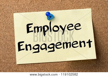 Employee Engagement - Adhesive Label Pinned On Bulletin Board
