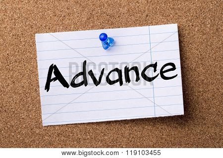 Advance - Teared Note Paper Pinned On Bulletin Board