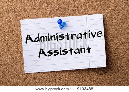 Administrative Assistant - Teared Note Paper Pinned On Bulletin Board