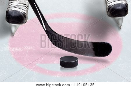 Ice Hockey Face Off Spot With Copy Space