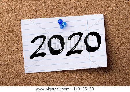 2020 - Teared Note Paper Pinned On Bulletin Board