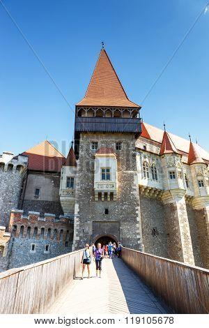 Hunedoara, Romania, 11 July, 2015: People Visiting Corvin Castle In Hunedoara, Romania