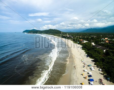 Aerial View of Barra do Una Beach, Sao Sebastiao, Brazil