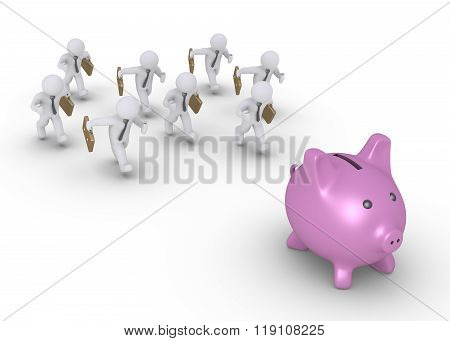 Businessmen Chasing Pig Money Box
