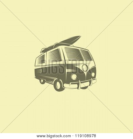 Surfing car logo design. Transportation sport board, vector illustration