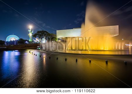 Fountain Outside The Cultural Center Of The Philippines At Night, In Pasay, Metro Manila, The Philip