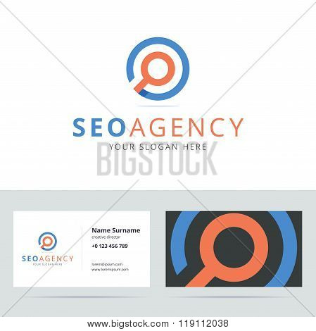 SEO agency logo and business card template.