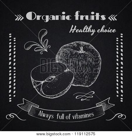 Organic fruits chalk stylish background