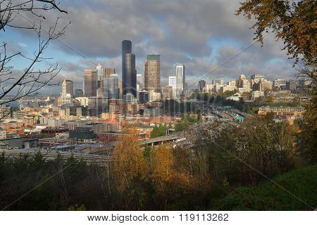 Seattle Downtown and Freeways, United States