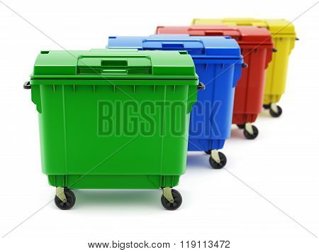 Green, blue, red and yellow garbage containers