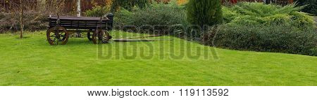 Landscaping in the garden. Peaceful Garden with a Freshly Mown Lawn