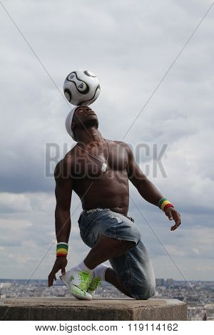 Paris,france - May 29, 2014 - Footballer Freestyler, Iya Traore From Guinea, In Sacre Couer Basilica