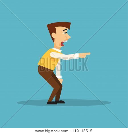 Man Mocking Someone. Vector Illustration