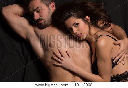Passionate couple in studio