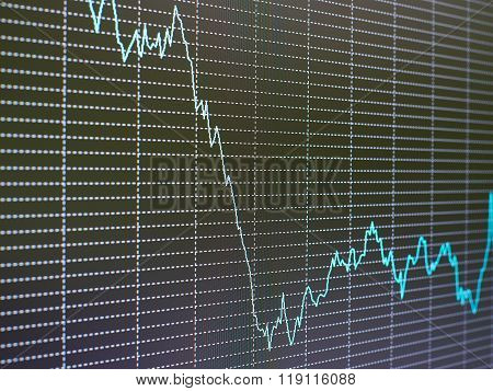 Stock Market Chart, Graph On Black Background.