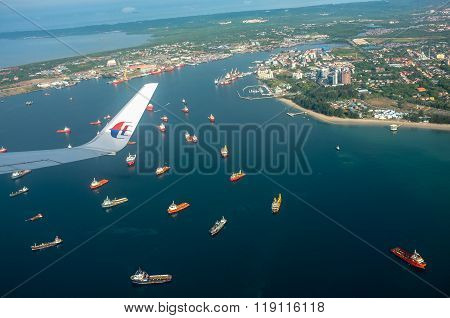 Aerial view of the Labuan from Malaysia Airlines Boeing 737-800 over Labuan FT.