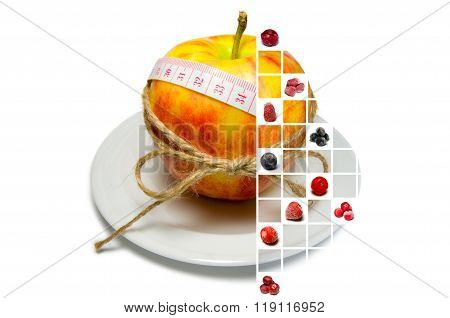 Collage Of Apple Surrounding Of Measuring Tape Tied With Twine With Berries On Squares (vertically)