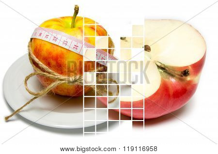 Collage Of Apple Surrounding Of Measuring Tape Tied With Twine And Half Of Apple On Different Layers