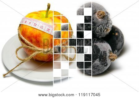 Collage Of Apple Surrounding Of Measuring Tape Tied With Twine And Frozen Black Currants Closeup On