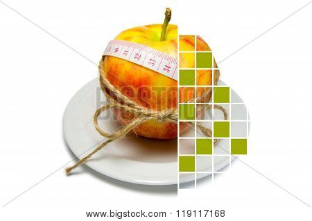 Collage Of Apple Surrounding Of Measuring Tape Tied With Twine With Squares, Some Of Them Are Covere