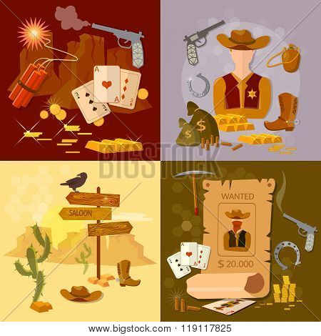 Wild West Cowboy Set Western Sheriff Bandit Vector Illustration