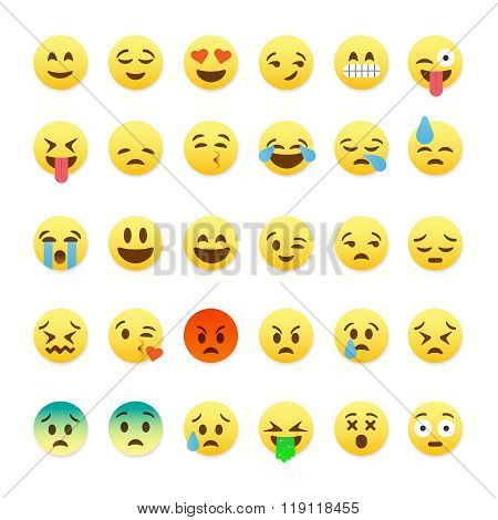 Set of cute smiley emoticons, emoji flat design