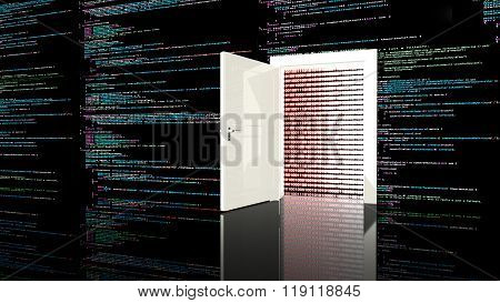 Door In A Wall In A Black Room Painted With Computer Code