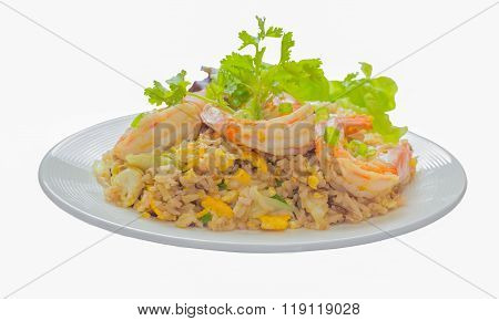 Isolate On White With Clipping Path Of Close Up Of Shrimp Fried Rice,selective Focus
