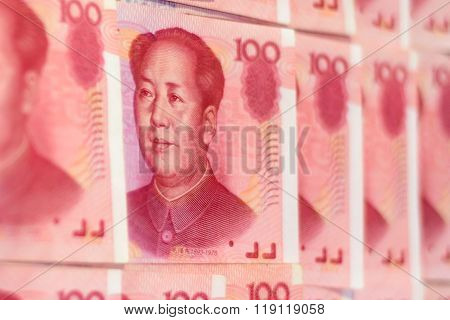 Official Chinese currency. Mao face on a Chinese note.