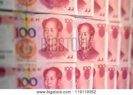 Official Chinese currency. Mao face on a 100 yuan note.