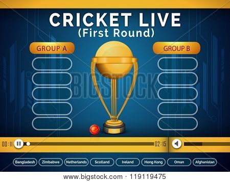 Live Cricket telecast video player window showing first round matches schedule with participant countries name on blue background.